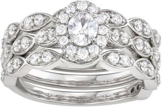 Vera Wang Simply Vera 14k White Gold 1 Carat T.W. Diamond Scalloped Engagement Ring Set