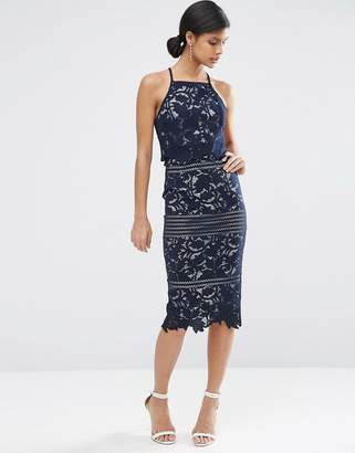Asos DESIGN Lace Floral Scallop Midi Dress