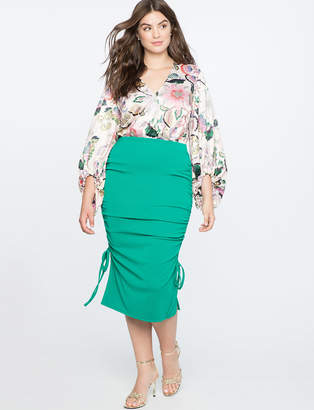 Pencil Skirt with Gathered Sides