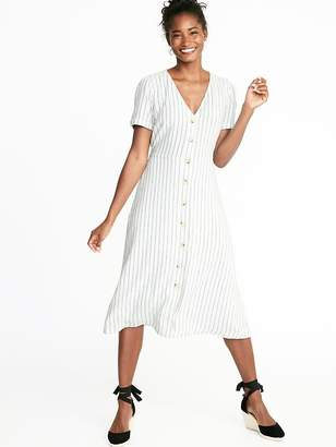 Old Navy Striped Waist-Defined Button-Front V-Neck Midi for Women