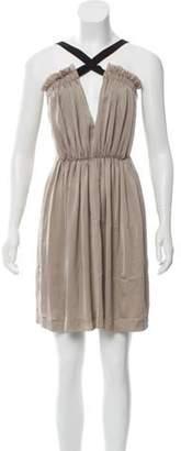 Elizabeth and James Ruffled Mini Dress Beige Ruffled Mini Dress