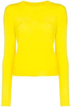 The Elder Statesman yellow Billy cropped knitted cashmere jumper