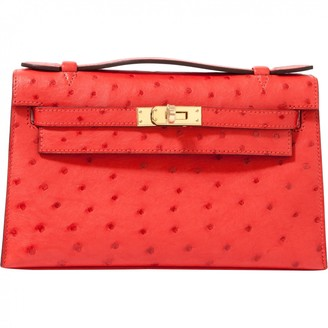 Hermes Kelly Clutch Red Ostrich Clutch bags