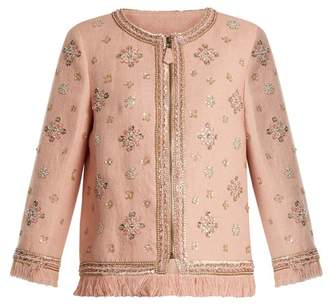 Andrew Gn Sequin Embellished Linen Blend Jacket - Womens - Light Pink
