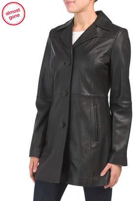 Missy Button Front Leather Blazer