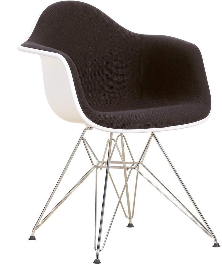 Eames Plastic Armchair DAR (H 43 cm) Vollpolster, verchromt / weiß / Hopsak nero / Kunststoffgleiter basic dark (Teppichboden)