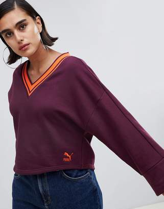 Puma V Neck Oversized Sweatshirt With Popper Detail