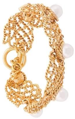 Oscar de la Renta faux pearl net bracelet