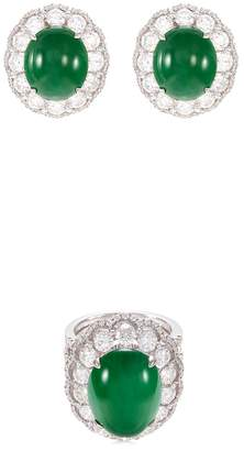 LC Collection Jade Diamond jade 18k gold scallop ring and earrings set