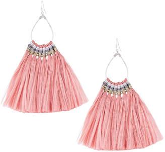 Nakamol Fringe Teardrop Earrings, Pink