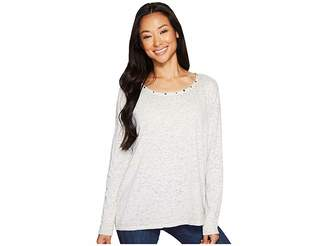 Jag Jeans Aggie Tee with Studs in Burnout Jersey Women's T Shirt
