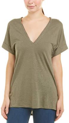 BCBGMAXAZRIA High-Low Linen-Blend T-Shirt
