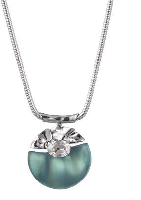 Alexis Bittar Crumpled Rhodium Stone Studded Pendant Necklace