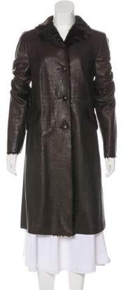 Akris Leather and Goat Hair Coat