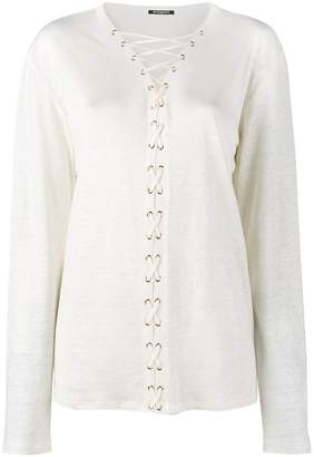 Balmain lace-up long sleeve top