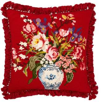 Flower Embroidered Wool Cushion - Red Multi