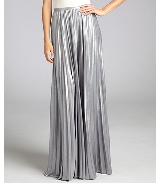 Halston Heritage silver pleated lame maxi skirt