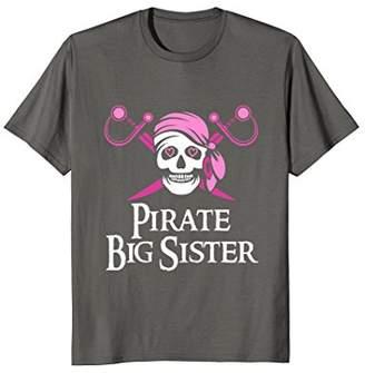 Pink Pirate Big Sister Jolly Roger Skull T-Shirt