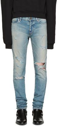 Saint Laurent Blue Skinny Destroyed Jeans $890 thestylecure.com