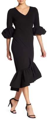 CQ by CQ V-Neck Asymmetrical Peplum Hem Dress