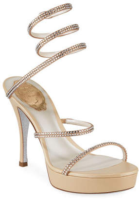 Rene Caovilla Snake-Wrap Crystal Platform Sandals