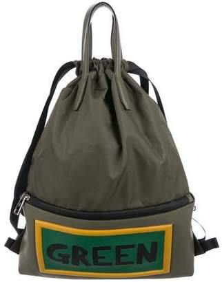 Fendi Green Leather-Trimmed Drawstring Backpack
