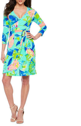 Bold Elements 3/4 Sleeve Leaf Wrap Dress