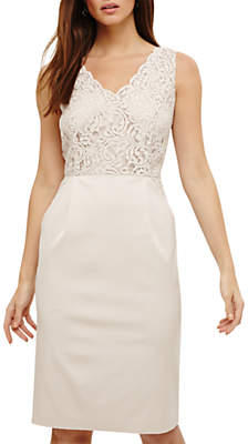 Phase Eight Trixi Lace Mix Dress, Cream Oyster