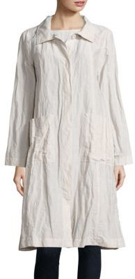 Eileen Fisher Crinkle Stand Collar Coat $478 thestylecure.com