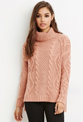 FOREVER 21 Cable Knit Turtleneck Sweater $27.90 thestylecure.com