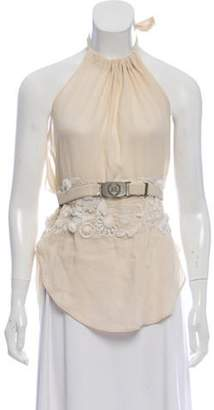 Max Mara Embroidered Halter Top Beige Embroidered Halter Top