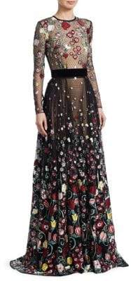 Murad Zuhair Flail Embroidered Mesh Gown