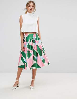 Traffic People Printed Prom Skirt