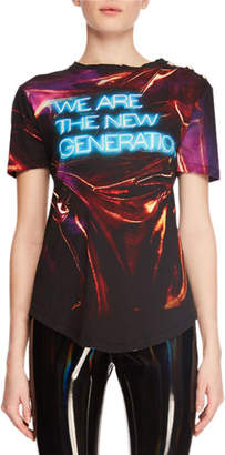 Balmain We Are The New Generation Neon Short-Sleeve Jersey Top