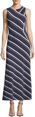 Cédric Charlier Sleeveless Metallic-Striped Maxi Dress