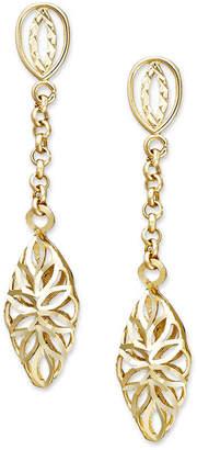 Macy's 14k Gold Earrings, Diamond Cut Marquise Filigree Drop Earrings, 1 1/3 inch