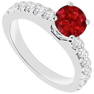 Rubie's Costume Co LoveBrightJewelry July Birthstones Engagement Ring and Cubic Zirconia White Gold 14K with 1.00 CT TGW