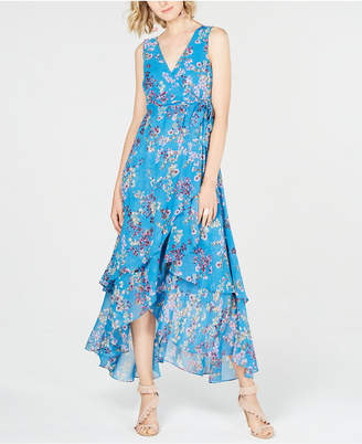 INC International Concepts I.n.c. Petite Printed Tiered Wrap-Front Dress