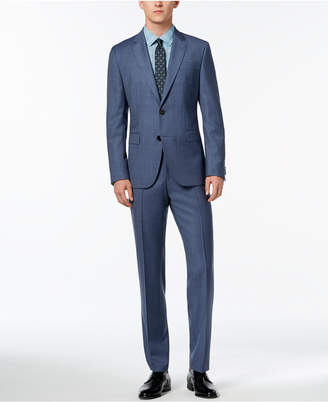 HUGO BOSS HUGO Men's Modern-Fit Medium Blue Textured Suit