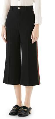 Gucci Side Stripe Cady Wide Leg Crop Pants