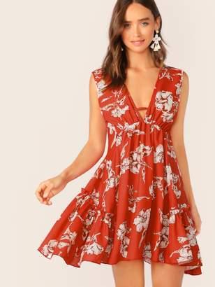 bdce084f1d Shein Deep V Neck Floral Print Frill Trim Swing Dress