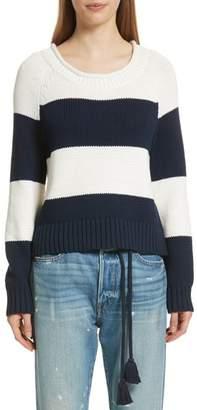 Frame Stripe Cotton Blend Sweater