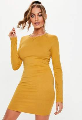 bc451cd98ae Missguided Mustard Long Sleeve Bodycon Mini Dress