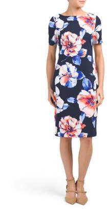 Short Sleeve Floral Crepe Dress