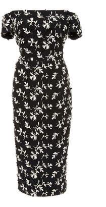 Lela Rose Off-The-Shoulder Floral-Embroidered Crepe Dress