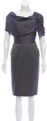Lela Rose Silk Accented Knee-Length Dress