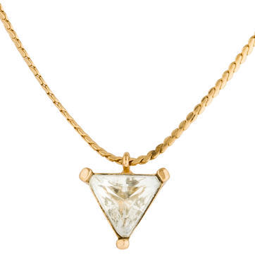 Christian Dior  Christian Dior Triangular Crystal Pendant Necklace