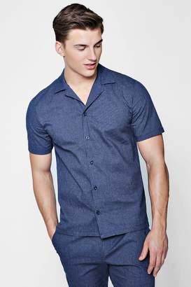 boohoo Striped Revere Short Sleeve Shirt