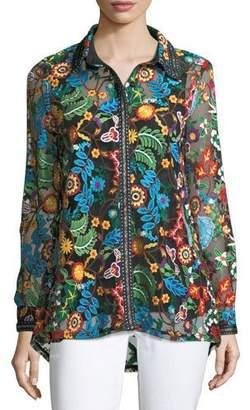 Berek Inez Embroidered Lace Easy Shirt, Petite