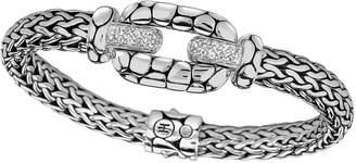 John Hardy Silver White Topaz Lava Station Bracelet Size Medium